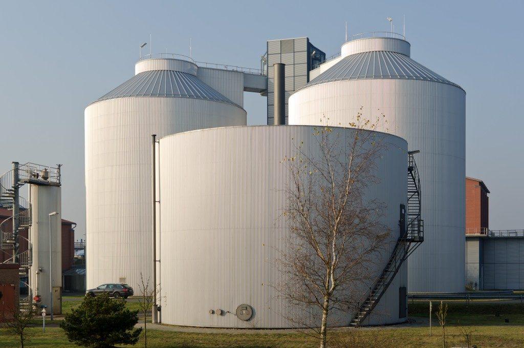 three large storage tanks