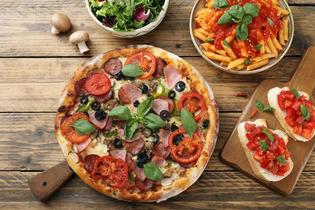 pizza on rustic table