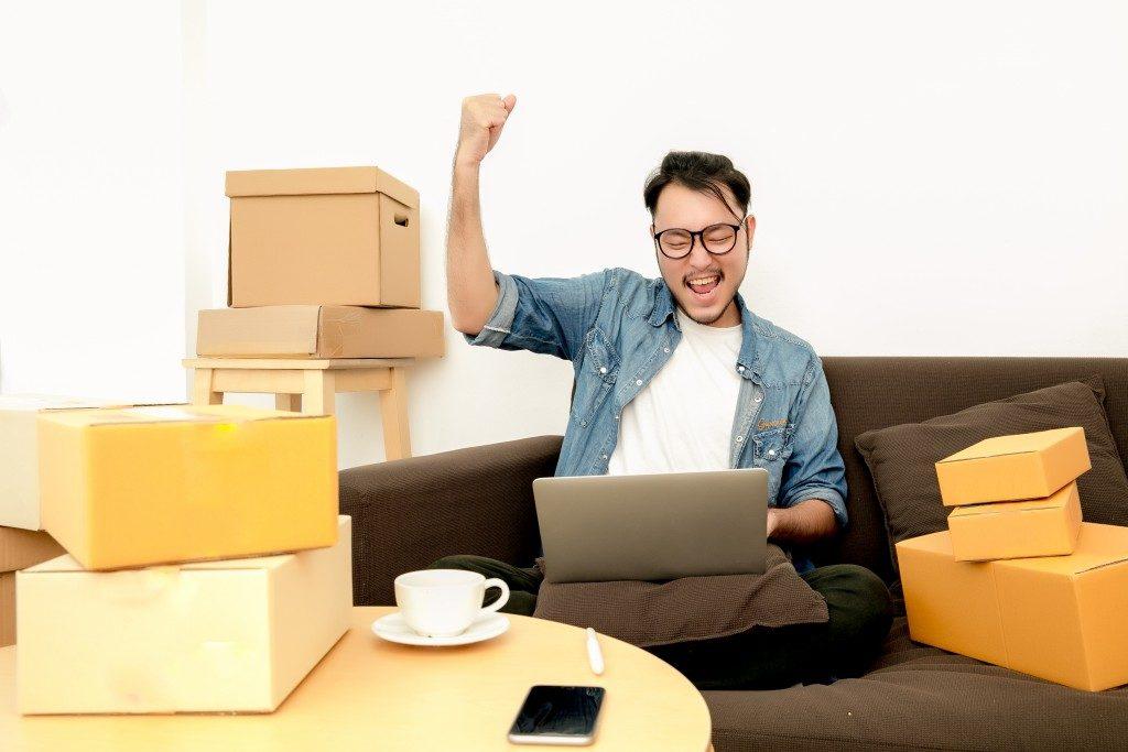 Happy start up delivery entrepreneur