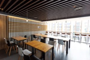 cafe designed in wood and white color