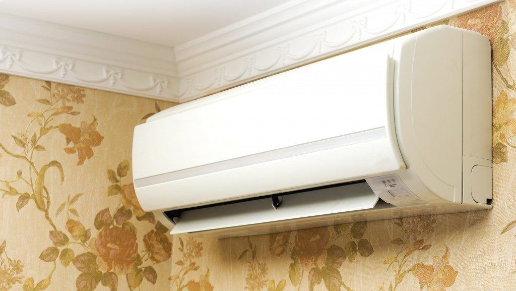 Air conditioning unit inside a room