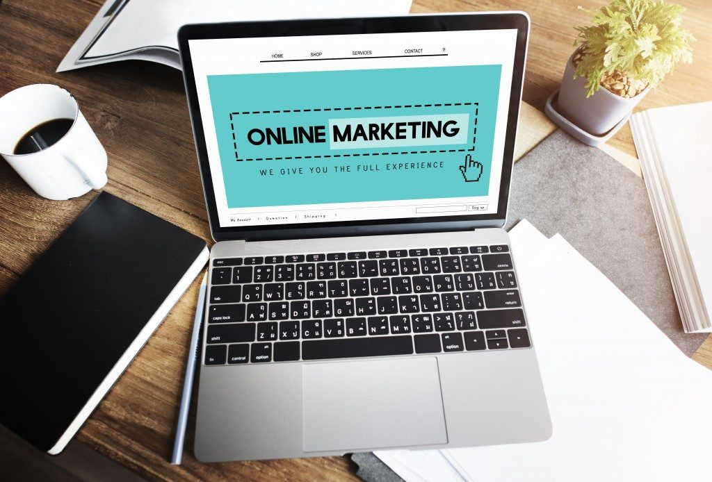 laptop with online marketing concept