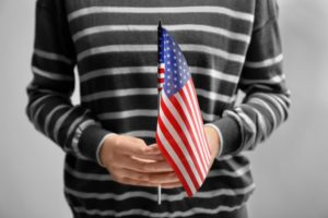 Holding american flag