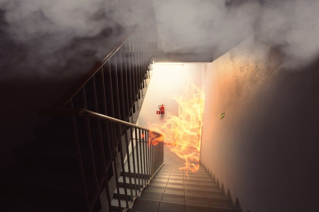 Fire in the stairs area