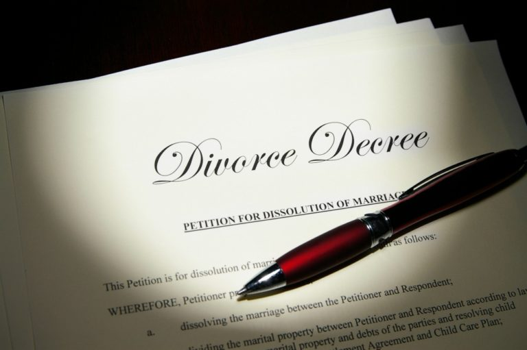 divorce paper and a red pen