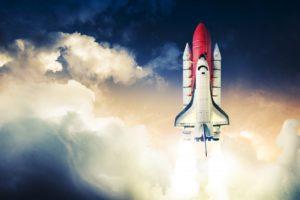 space shuttle blasting off