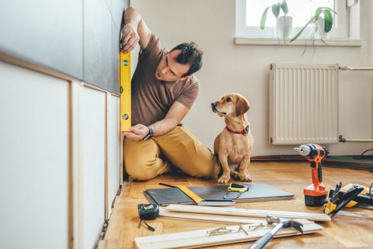 man renovating his home
