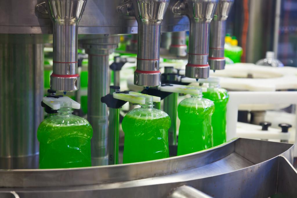 Bottled liquid soaps in factory
