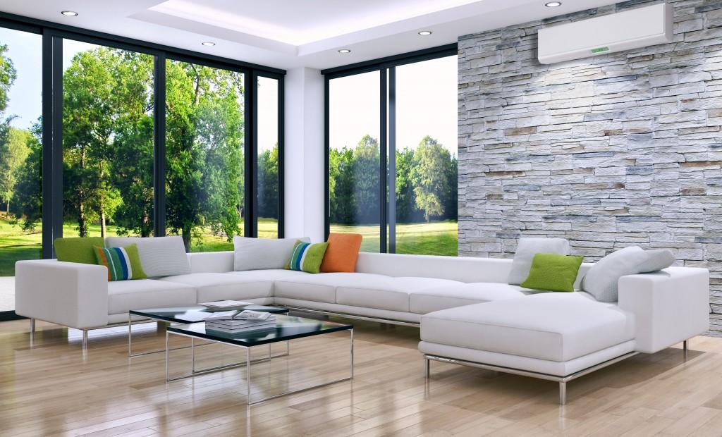 modern living room wide wall glass