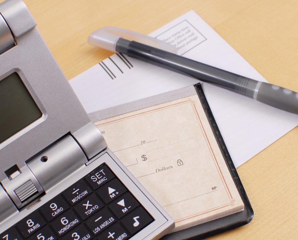 cheque and calculator