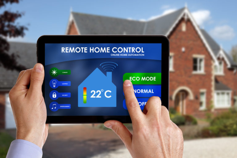 home being controlled by a tablet